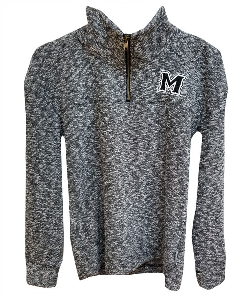 Image For 1/4 ZIP BLK M LOGO WOOLY